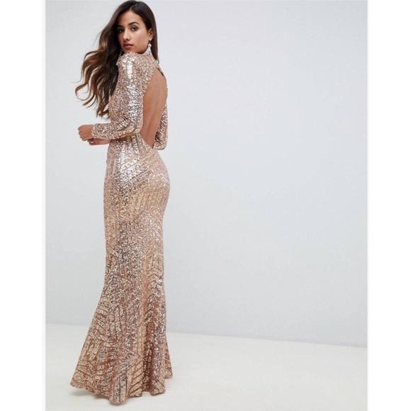 363ffad0b2a ASOS City Goddess Long Sleeve Backless Sequin Maxi